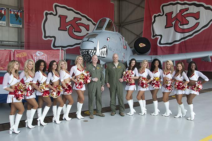 442 FW leadership meets KC Chiefs cheerleaders