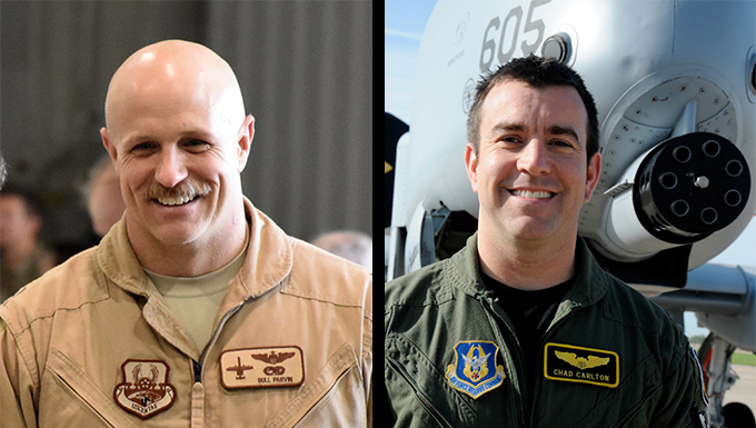 Lt. Col. Jeremiah Parvin (left) and Maj. Chad Carlton